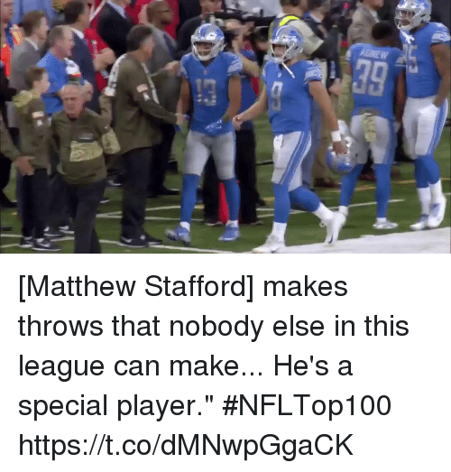 """Memes, 🤖, and League: [Matthew Stafford] makes throws that nobody else in this league can make... He's a special player."""" #NFLTop100 https://t.co/dMNwpGgaCK"""