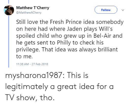 Fresh, Love, and Prince: Matthew T'Cherry  @MatthewACherry  Follow  Still love the Fresh Prince idea somebody  on here had where Jaden plays Will's  spoiled child who grew up in Bel-Air and  he gets sent to Philly to check his  privilege. That idea was always brilliant  to me.  1:38 AM-27 Feb 2018 mysharona1987:  This is legitimately a great idea for a TV show, tho.