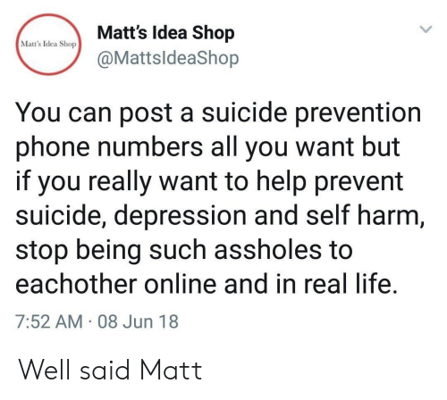 Life, Phone, and Depression: Matt's Idea Shop  Matt's Idea Shop  @MattsldeaShop  You can post a suicide prevention  phone numbers all you want but  if you really want to help prevent  suicide, depression and self harm,  stop being such assholes to  eachother online and in real life.  7:52 AM 08 Jun 18 Well said Matt