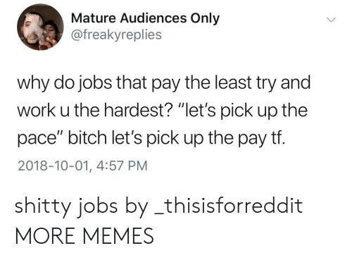 """Bitch, Dank, and Memes: Mature Audiences Only  @freakyreplies  why do jobs that pay the least try and  work u the hardest? """"let's pick up the  pace"""" bitch let's pick up the pay tf.  2018-10-01, 4:57 PM shitty jobs by _thisisforreddit MORE MEMES"""