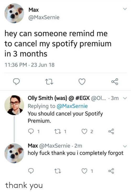 Spotify, Thank You, and Fuck: Max  MaxSernie  hey can someone remind me  to cancel my spotify premium  in 3 months  11:36 PM 23 Jun 18  Olly Smith (was) @ #EGX @ol...-3 m  Replying to @MaxSernie  You should cancel your Spotify  Premiumm  Max @MaxSernie 2m  holy fuck thank you i completely forgot thank you