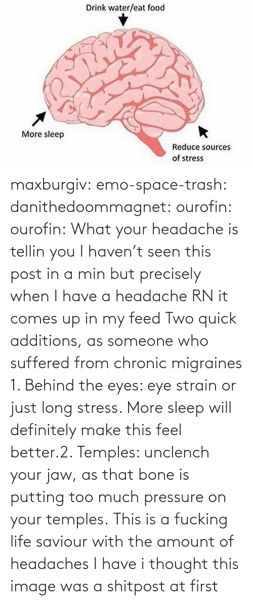 Sleep: maxburgiv:  emo-space-trash:  danithedoommagnet:  ourofin:  ourofin:  What your headache is tellin you  I haven't seen this post in a min but precisely when I have a headache RN it comes up in my feed   Two quick additions, as someone who suffered from chronic migraines 1. Behind the eyes: eye strain or just long stress. More sleep will definitely make this feel better.2. Temples: unclench your jaw, as that bone is putting too much pressure on your temples.   This is a fucking life saviour with the amount of headaches I have   i thought this image was a shitpost at first