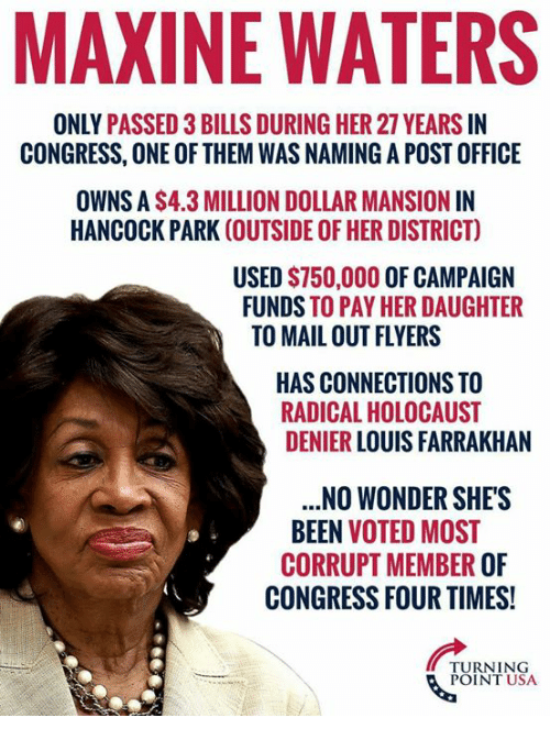 Memes, Post Office, and Holocaust: MAXINE WATERS  ONLY PASSED 3 BILLS DURING HER 27 YEARS IN  CONGRESS, ONE OF THEM WAS NAMING A POST OFFICE  OWNS A $4.3 MILLION DOLLAR MANSION IN  HANCOCK PARK (OUTSIDE OF HER DISTRICT)  USED $750,000 OF CAMPAIGN  FUNDS TO PAY HER DAUGHTER  TO MAIL OUT FLYERS  HAS CONNECTIONS TO  RADICAL HOLOCAUST  DENIER LOUIS FARRAKHAN  .NO WONDER SHE'S  BEEN VOTED MOST  CORRUPT MEMBER OF  CONGRESS FOUR TIMES!  TURNING  POINT USA
