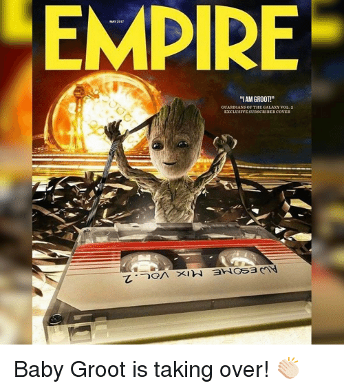 "Iamed: MAY 2017  ""IAM GROOT!""  GUARDIANS OF THE GALAXY VOL 2  EXCLUSIVESUBSCRIBER COVER Baby Groot is taking over! 👏🏻"