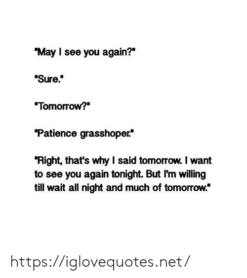 """Patience, See You Again, and Tomorrow: """"May I see you again?""""  Sure.  """"Tomorrow?  """"Patience grasshoper  """"Right, that's why I said tomorrow. I want  to see you again tonight. But I'm willing  till wait all night and much of tomorrow."""" https://iglovequotes.net/"""