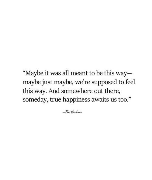 """True, Happiness, and All: """"Maybe it was all meant to be this way  maybe just maybe, we're supposed to feel  this way. And somewhere out there,  someday, true happiness awaits us too.""""  -The Wanderer"""