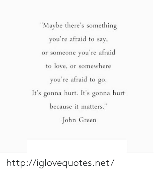 """Love, Http, and John Green: """"Maybe there's something  you're afraid to say  or someone you're afraid  to love, or somewhere  you're afraid to go.  It's gonna hurt. It's gonna hurt  because it matters.""""  -John Green http://iglovequotes.net/"""