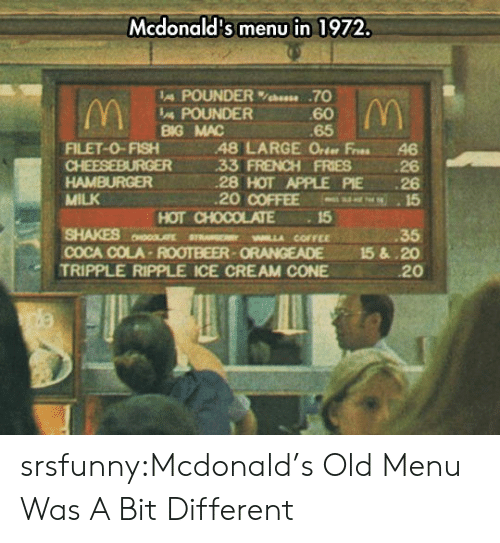Apple, Coca-Cola, and McDonalds: Mcdonald's menu in 1972.  IA POUNDER%bees. .70  60  65  POUNDER  BG MAC  FILET-0-FISH48 LARGE Orter Fres 46  33 FRENCH FRIES 26  28 HOT APPLE PIE 26  20 COFFEE 15  HAMBURGER  MILK  SHAKES MLLA COFFEE  TRIPPLE RIPPLE ICE CREAM CONE  HOT CHOCOLATE15  35  COCA COLA-ROOTBEER-ORANGEADE 15&.20  20 srsfunny:Mcdonald's Old Menu Was A Bit Different