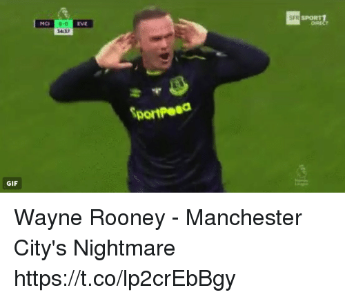 Gif, Memes, and Manchester: MCI  0-0  34:37  EVE  SFR  SPORT1  DIRECT  Dortpesd  GIF Wayne Rooney - Manchester City's Nightmare https://t.co/lp2crEbBgy