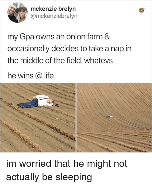 Life, Onion, and The Middle: mckenzie brelyn  @mckenziebrelyn  my Gpa owns an onion farm &  occasionally decides to take a nap in  the middle of the field. whatevs  he wins @ life im worried that he might not actually be sleeping
