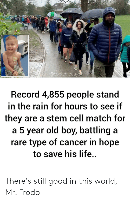 frodo: MD  @contentodays  Record 4,855 people stand  in the rain for hours to see if  they are a stem cell match for  a 5 year old boy, battling a  rare type of cancer in hope  to save his life. There's still good in this world, Mr. Frodo