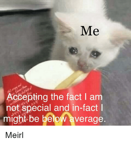 MeIRL, Below, and Might: Me  Accepting the fact I am  not special and in-fact  might be below average Meirl