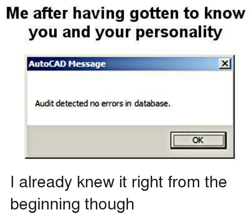 AutoCAD, Database, and Personality: Me after having gotten to know  you and your personality  AutoCAD Message  xl  Audit detected no errors in database.  OK <p>I already knew it right from the beginning though</p>