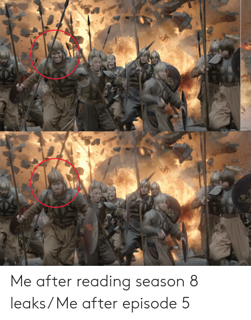 Leaks, Reading, and  Episode: Me after reading season 8 leaks/ Me after episode 5