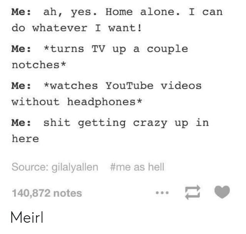 Being Alone, Crazy, and Home Alone: Me: ah, yes. Home alone. I can  do whatever I want!  Me: *turns TV up a couple  notches*  Me: watches YouTube videos  without headphones*  Me: shit getting crazy up in  here  Source: gilalyallen  #me as hell  140,872 notes Meirl