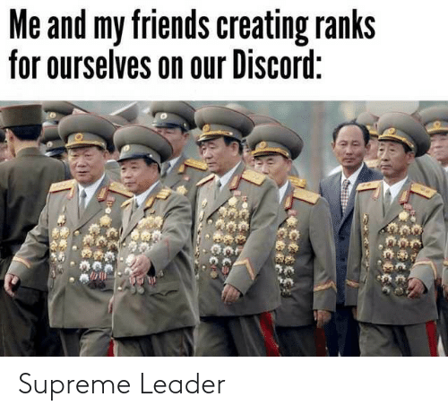 creating: Me and my friends creating ranks  for ourselves on our Discord: Supreme Leader