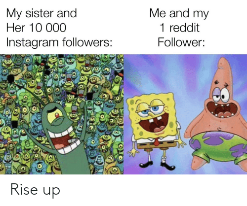 Followers: Me and my  My sister and  Her 10 000  1 reddit  Instagram followers:  Follower: Rise up