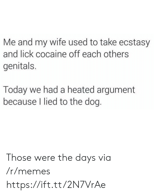 Memes, Cocaine, and Today: Me and my wife used to take ecstasy  and lick cocaine off each others  genitals.  Today we had a heated argument  because I lied to the dog. Those were the days via /r/memes https://ift.tt/2N7VrAe