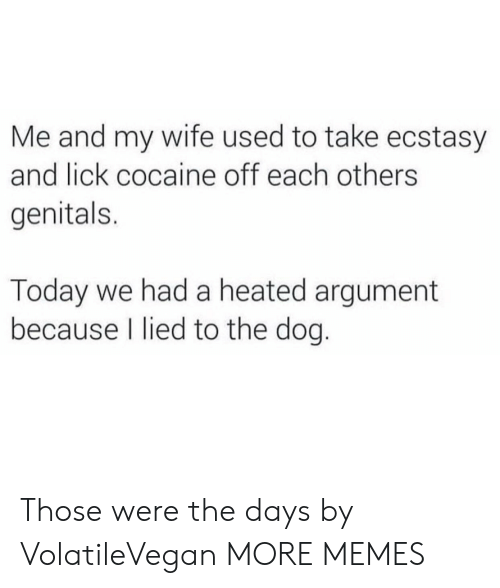 Dank, Memes, and Target: Me and my wife used to take ecstasy  and lick cocaine off each others  genitals.  Today we had a heated argument  because I lied to the dog. Those were the days by VolatileVegan MORE MEMES