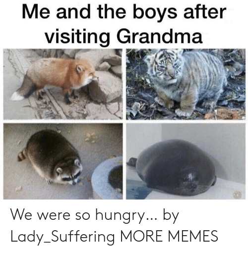 Suffering: Me and the boys after  visiting Grandma We were so hungry… by Lady_Suffering MORE MEMES