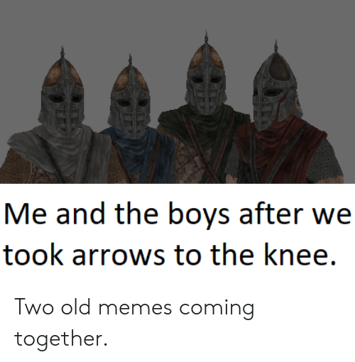 Knee: Me and the boys after we  took arrows to the knee. Two old memes coming together.