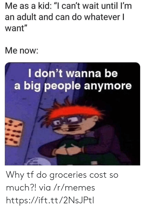 """Memes, Big, and Can: Me as a kid: """"I can't wait until I'm  an adult and can do whatever l  want""""  Me now:  I don't wanna be  a big people anymore Why tf do groceries cost so much?! via /r/memes https://ift.tt/2NsJPtl"""