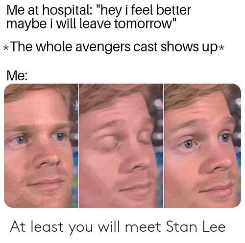 "Stan, Stan Lee, and Avengers: Me at hospital: ""hey i feel better  maybe i will leave tomorrow""  *The whole avengers cast shows up*  Me: At least you will meet Stan Lee"