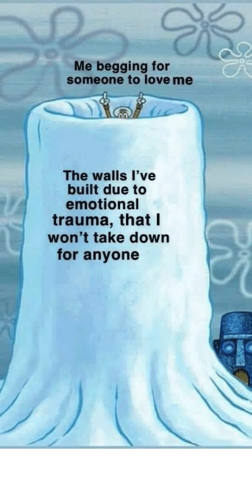 begging: Me begging for  someone to love me  The walls l've  built due to  emotional  trauma, that I  won't take down  for anyone meirl