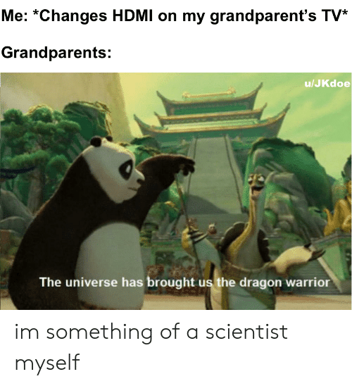 Parents, Dank Memes, and Grand: Me: *Changes HDMI on my grand parent's TV*  Grandparents:  u/JKdoe  The universe has brought us the dragon warrior im something of a scientist myself