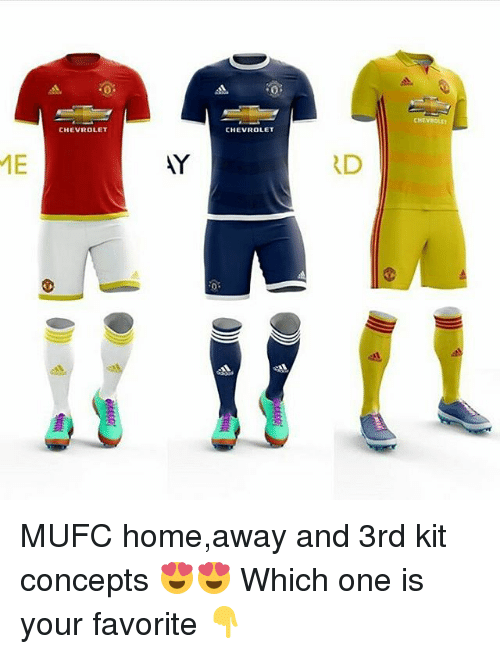 Home Away: ME  CHEVROLET  CHEVROLET  RD MUFC home,away and 3rd kit concepts 😍😍 Which one is your favorite 👇
