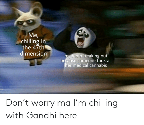 worry: Me,  chilling in  the 47th  dimension  my mom freaking out  because someone took all  her medical cannabis  uldankdormamu Don't worry ma I'm chilling with Gandhi here