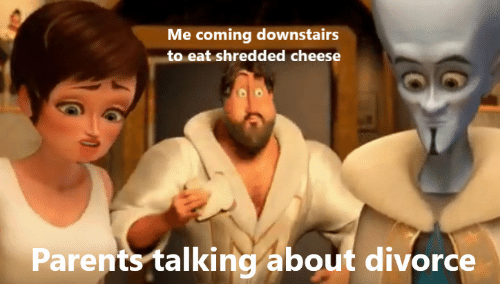 Shredded Cheese: Me coming downstairs  to eat shredded cheese  Parents talking about divorce