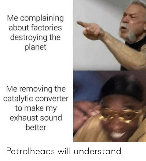 Sound, Planet, and Will: Me complaining  about factories  destroying the  planet  Me removing the  catalytic converter  to make my  exhaust sound  better Petrolheads will understand