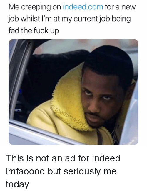 Memes, Fuck, and Indeed: Me creeping on indeed.com for a new  job whilst l'm at my current job being  fed the fuck up This is not an ad for indeed lmfaoooo but seriously me today