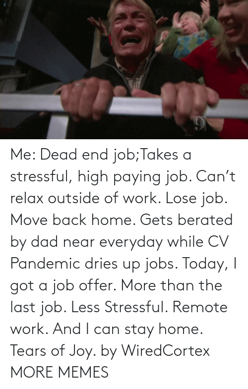 remote: Me: Dead end job;Takes a stressful, high paying job. Can't relax outside of work. Lose job. Move back home. Gets berated by dad near everyday while CV Pandemic dries up jobs. Today, I got a job offer. More than the last job. Less Stressful. Remote work. And I can stay home. Tears of Joy. by WiredCortex MORE MEMES