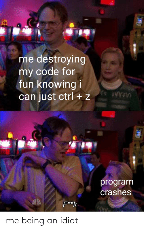 Crashes: me destroying  my code for  fun knowing i  can just ctrl + z  program  crashes  F**k me being an idiot