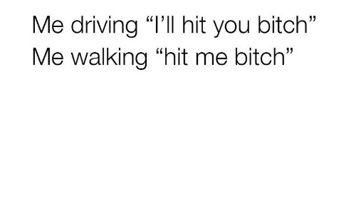 "Bitch, Driving, and You: Me driving ""l'Il hit you bitch""  Me walking ""hit me bitch"""