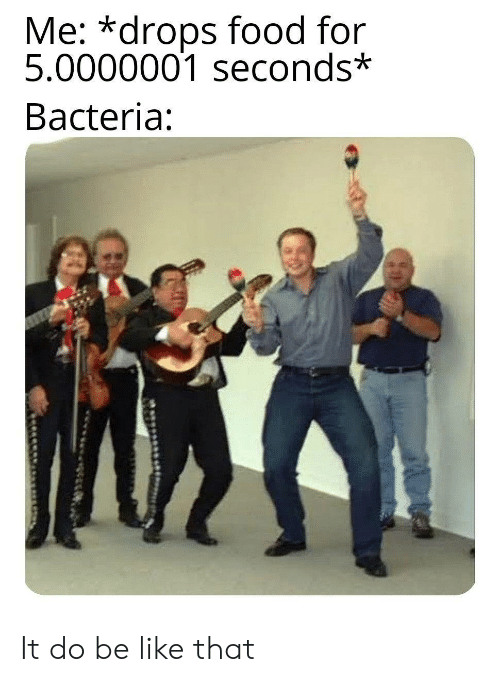Be Like, Food, and Bacteria: Me: *drops food for  5.0000001 seconds*  Bacteria: It do be like that