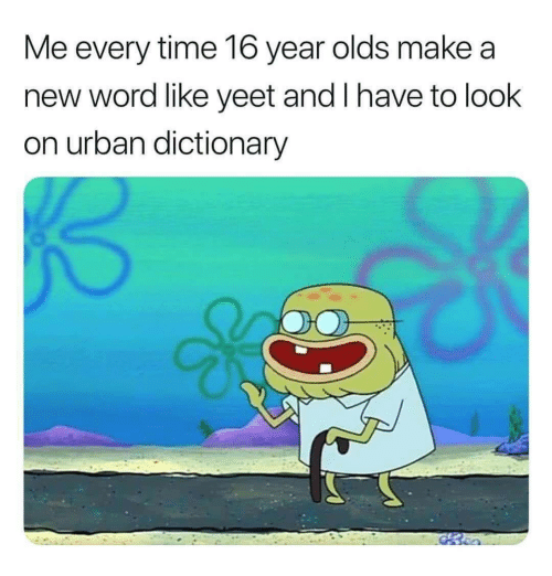 Urban Dictionary: Me every time 16 year olds make a  new word like yeet and I have to look  on urban dictionary
