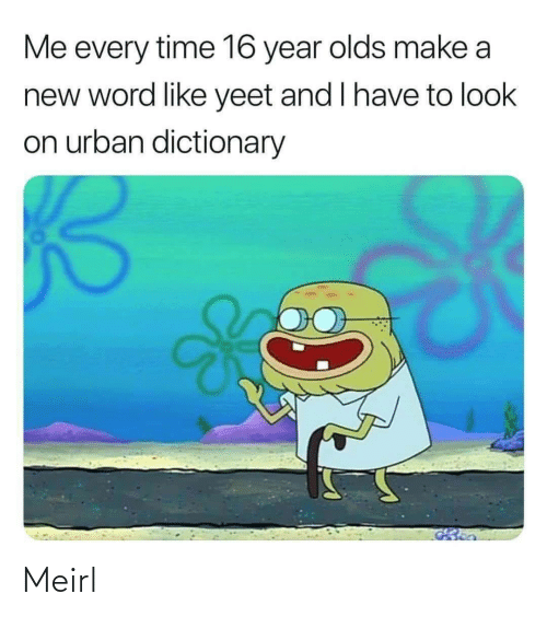Word: Me every time 16 year olds make a  new word like yeet and I have to look  on urban dictionary Meirl