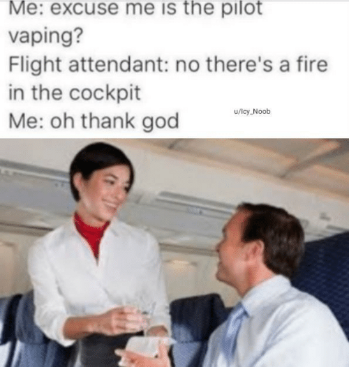 pilot: Me: excuse me is the pilot  vaping?  Flight attendant: no there's a fire  in the cockpit  Me: oh thank god  u/lcy Noob