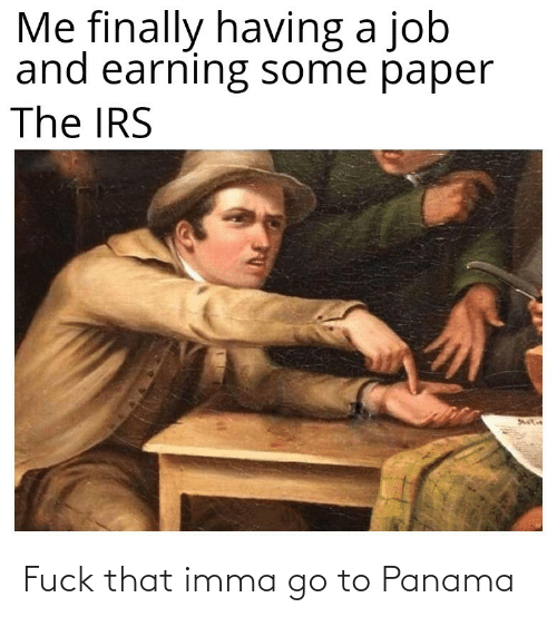 job: Me finally having a job  and earning some paper  The IRS Fuck that imma go to Panama