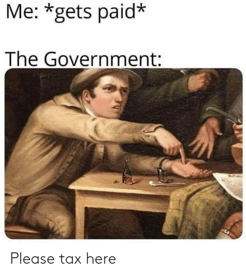 Memes, Government, and 🤖: Me: *gets paid*  The Government: Please tax here