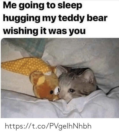 hugging: Me going to sleep  hugging my teddy bear  wishing it was you https://t.co/PVgelhNhbh