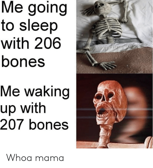 waking up: Me going  to sleep  with 206  bones  alar  Sammy  alawy  Me waking  up with  207 bones Whoa mama