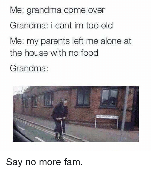 Being Alone, Come Over, and Fam: Me: grandma come over  Grandma: i cant im too old  Me: my parents left me alone at  the house with no food  Grandma: Say no more fam.