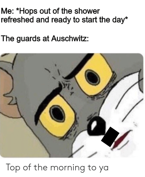 """Auschwitz: Me: """"Hops out of the shower  refreshed and ready to start the day*  The guards at Auschwitz: Top of the morning to ya"""