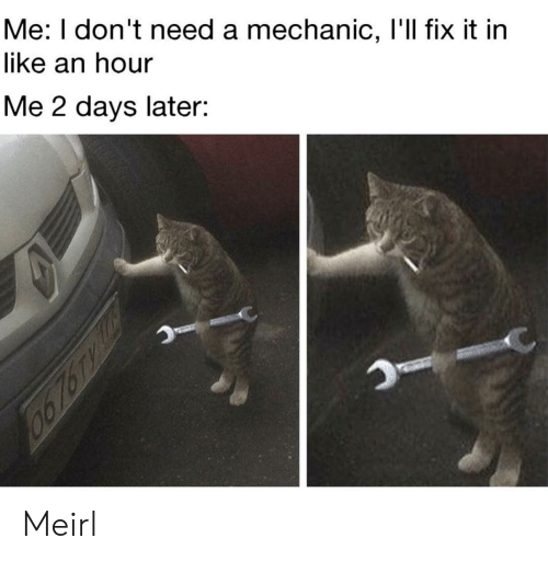 Mechanic, MeIRL, and Like: Me: I don't need a mechanic, l'll fix it in  like an hour  Me 2 days later: Meirl