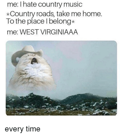 Country music: me: I hate country music  *Country roads, take me home  To the place Ibelong*  me: WEST VIRGINIAAA every time