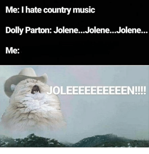 Country music: Me: I hate country music  Dolly Parton: Jolene...Jolene...Jolene...  Me:  JOLEEEEEEEEEEN!!!!